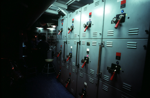 The main buss switch board aboard the USS NEW JERSEY (BB 62). The NEW JERSEY, after recently completing renovation and modernization, is undergoing sea trials prior to reactivated in January 1983