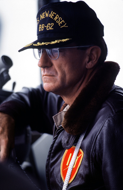 The ship's executive officer observes ship's operations from the bridge of the battleship USS NEW JERSEY (BB 62). The NEW JERSEY, after recently completing renovation and modernization, is undergoing sea trials prior to reactivation in January 1983