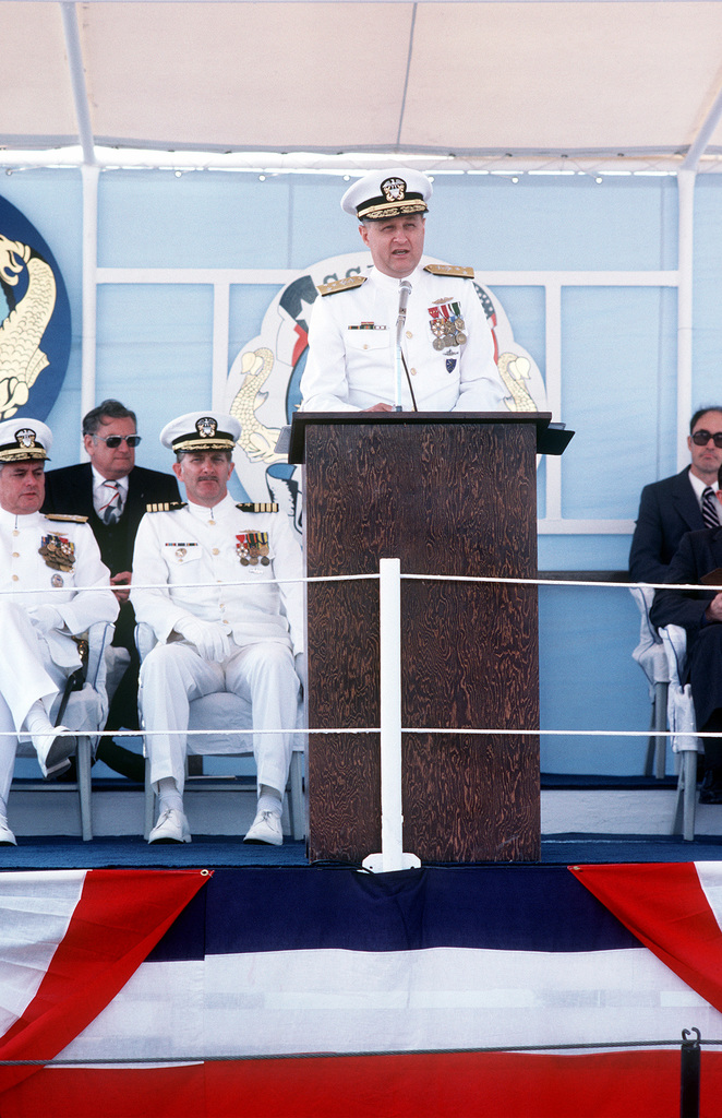 VADM Steven A. White, commander, Submarine Force, U.S. Atlantic Fleet, speaks to the audience during the commissioning ceremony for the nuclear-powered attack submarine USS HOUSTON (SSN-713)