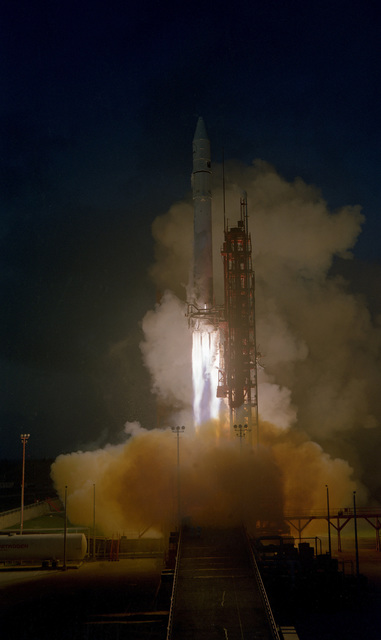 The Atlas Centaur 60 lifts off from the Launch Complex 36B carrying the Intelsat V-E vertical format satellite
