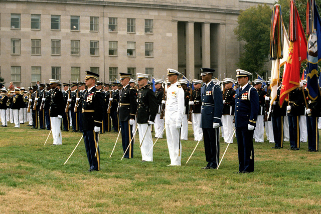 An armed forces full hornor arrival ceremony for Panamanian President Ricardo de la Espriella takes place at the Pentagon