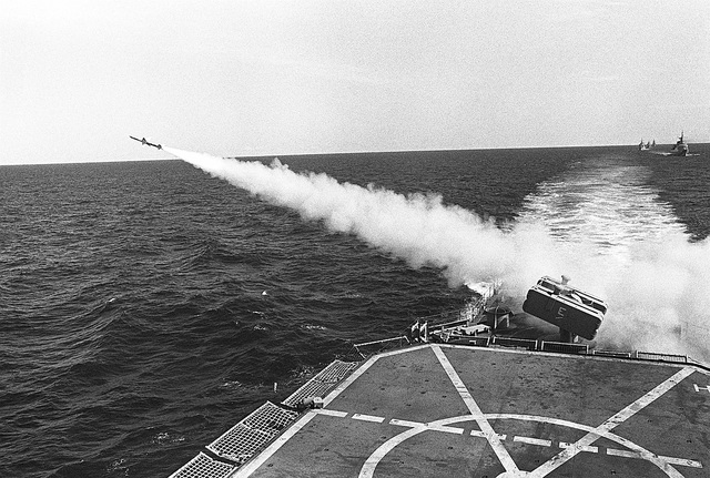 A Sea Sparrow missile is launched from the Mark 29 eight-tube NATO launcher on board the destroyer USS ARTHUR W. RADFORD (DD-968) during Exercise Unitas XXI