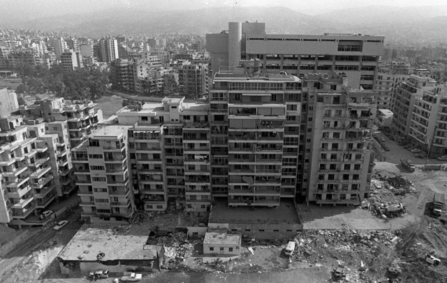 An aerial view of a downtown section of the city showing some of the bomb damage caused when a confrontation took place between Israelis and the Palestine Liberation Organization. Marines have been deployed here to participate in a multinational peacekeeping operation