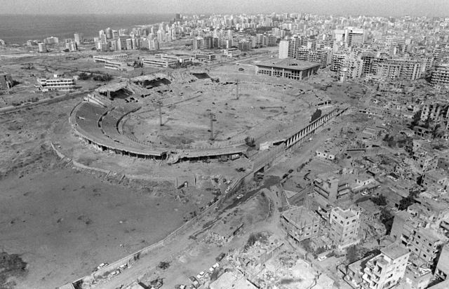 An aerial view of the stadium used as an ammunition supply site for the Palestine Liberation Organization during a confrontation with the Israelis. Marines have been deployed here to participate in a multinational peacekeeping operation