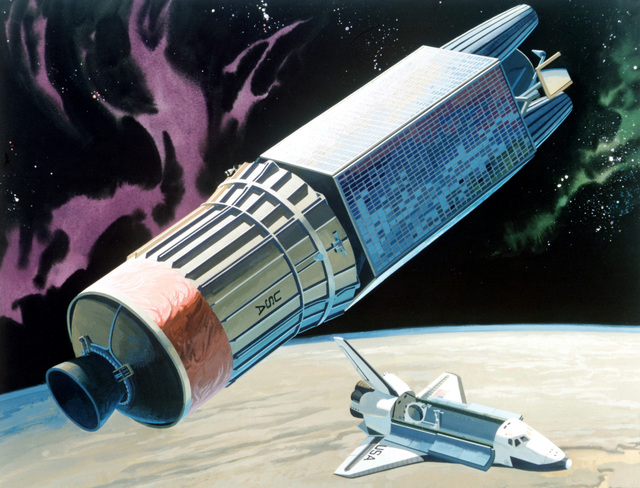 An artist's concept of an Inertial Upper Stage orbital transfer vehicle with a satellite payload attached as it is released from a space shuttle orbiter. Space Division 1982