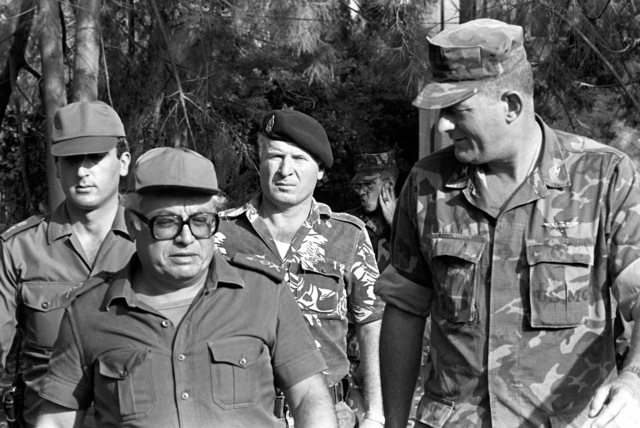 Colonel James M. Mead, 32nd Marine Amphibious Unit commander, talks with a Lebanese Armed Froces general during a multinational peacekeeping operation