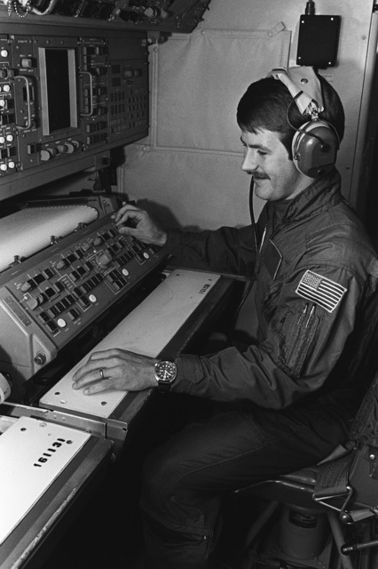 PETTY Officer 2nd Class Joe Furrow operates an acoustic sensor device aboard a P-3C Orion anti-submarine warfare aircraft. He is assigned to Patrol Squadron 10 (VP-10)