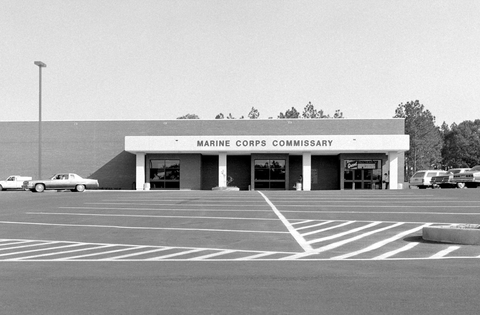 Front view of the new Marine Corps commissary store, from across the parking lot. The store is named in honor of the late MGEN Roy M. Gulick, United States Marine Corps retired