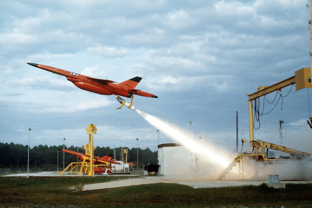 A Firebee drone leaves its launch pad during the air-to-air combat training exercise William Tell '82. The drone will serve as a target for aircraft participating in the exercise