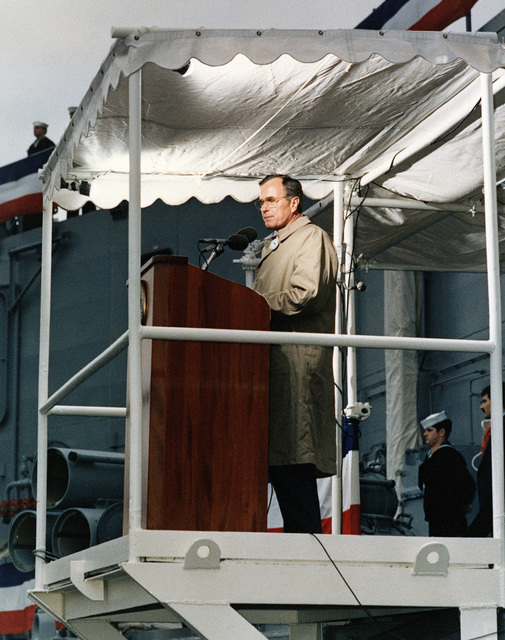 Vice President George H. Bush speaks during the commissioning ceremony for the Oliver Hazard Perry class guided missile frigate USS AUBREY FITCH (FFG 34)