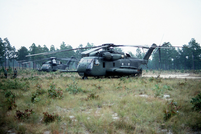 Two CH-53E Sea Stallion helicopters and their crews, stand-by for the completion of the 10th Marine Regiment field training exercise with the M-198 155mm howitzer