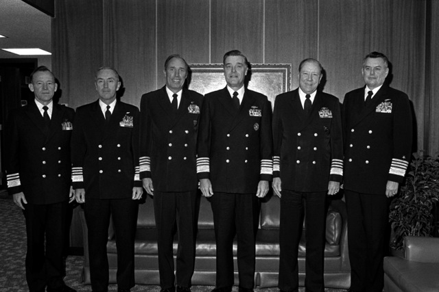 Admiral James D. Watkins, CHIEF of Naval Operations, third from left, and worldwide naval commanders meet at the Naval War College. They toured the War Gaming Center and discussed the school curriculum during what is billed as the first such worldwide conference outside Washington, DC