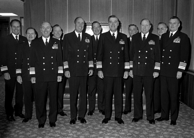 Admiral James D. Watkins, CHIEF of Naval Operations, third from left, front row, and worldwide naval commanders meet at the Naval War College. They toured the War Gaming Center and discussed the school curriculum during what is billed as the first such worldwide conference outside Washington, District of Columbia