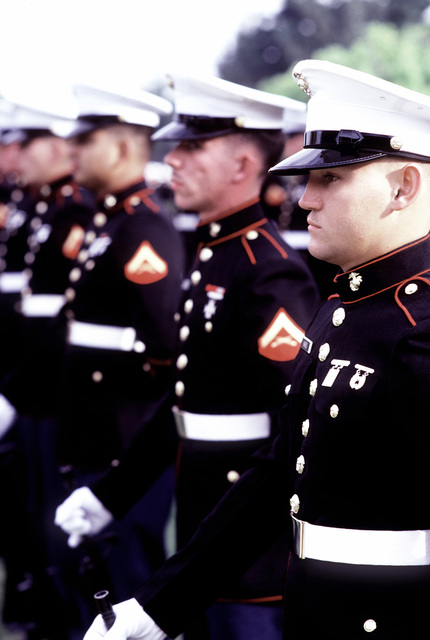Marines stand in formation during the change of command ceremony. CAPT Donald Richmond is assuming command of Naval Air Station, Alameda, from CAPT Norman Campbell