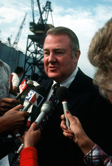 Edwin Meese III, counselor to the president, speaks at the news media the launching ceremony for the cable repair ship USNS ZEUS (T-ARC-7). The ship was built by the National Steel and Shipbuilding Company
