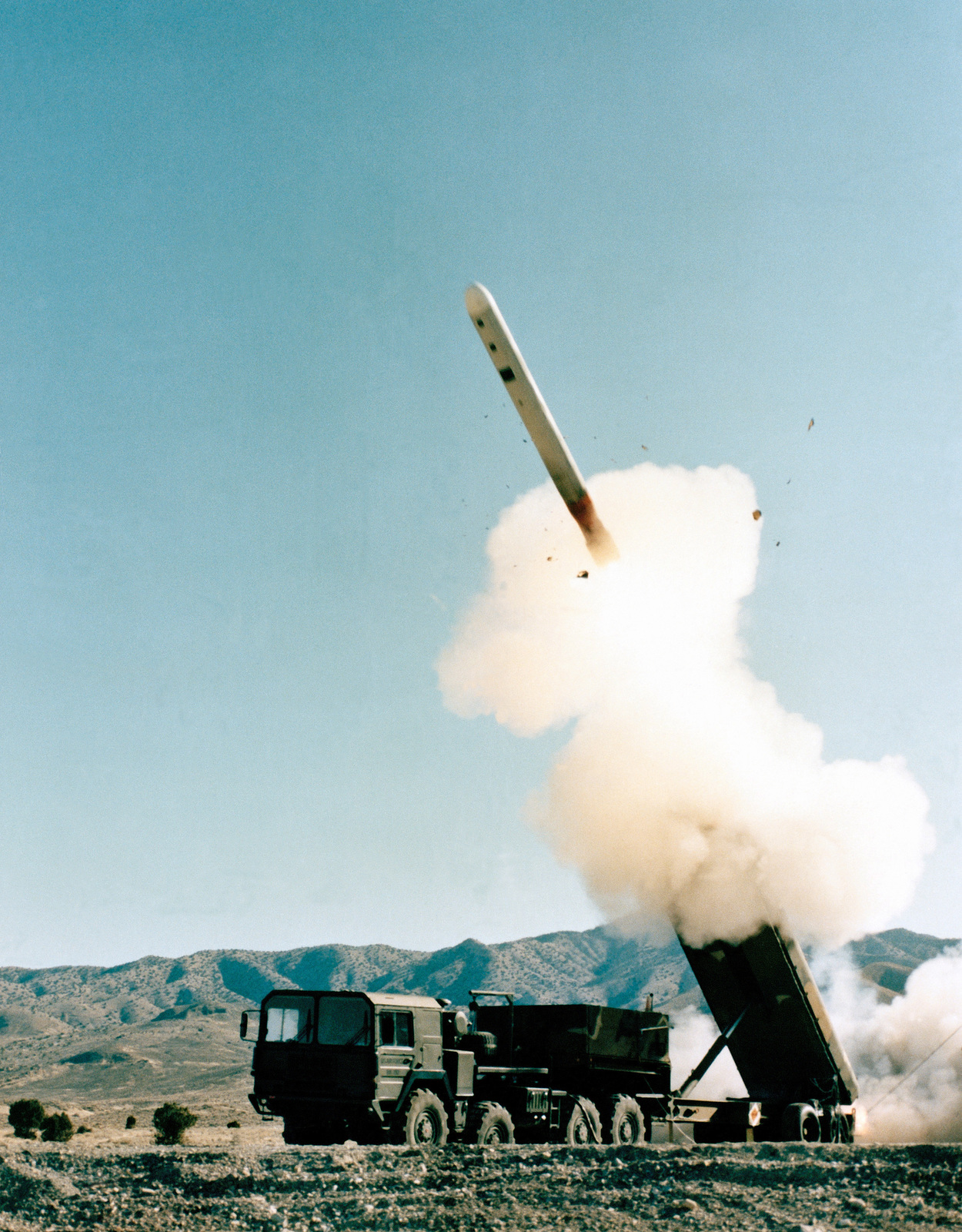 A Ground Launch Cruise Missile (GLCM) after it emerges from the Transporter-Erector Launcher (TEL) during a test firing