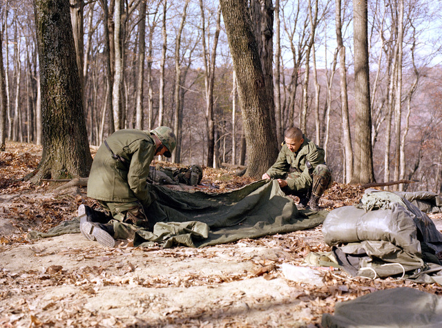 An infantryman prepare a bivouac area during a training exercise at the Army Armor Center