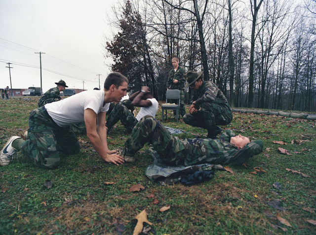 Infantrymen participate in a diagnostic physical training test at the Army Armor Center