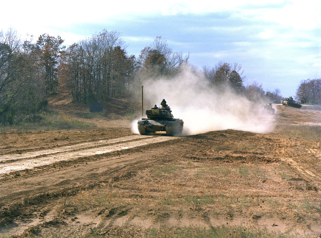 Infantrymen undergo advanced driver training with an M60A1 tank at the Army Armor Center