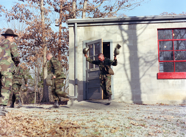 """Infantrymen undergo """"gas chamber"""" training at the Army Armor Center"""