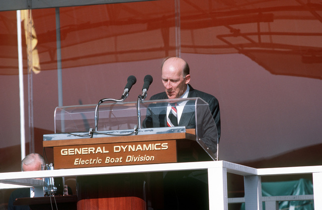 Fritz G. Tovar, general manager for the Electric Boat Division of General Dynamics, speaks during the launching ceremony for the nuclear-powered strategic missile submarine USS GEORGIA (SSBN-729)