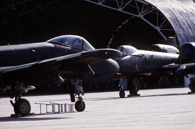 A-10 Thunderbolt II aircraft of the 354th Tactical Fighter Wing are parked in the maintenance area during Exercise Quick Thrust '83-1