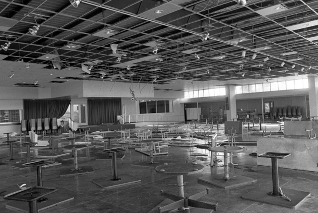 An interior view of the damage to the officer's club caused by Hurricane Iwa
