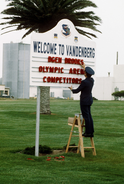A sign is posted to welcome Titan II and Minuteman wings participating in the Strategic Air Command's 14th annual Olympic Arena Exercise