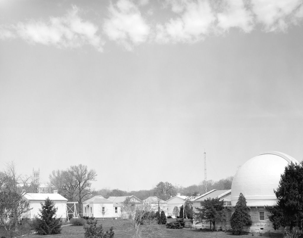 A view of the 26-inch telescope dome (left) and the transit circle telescope houses, looking northwest