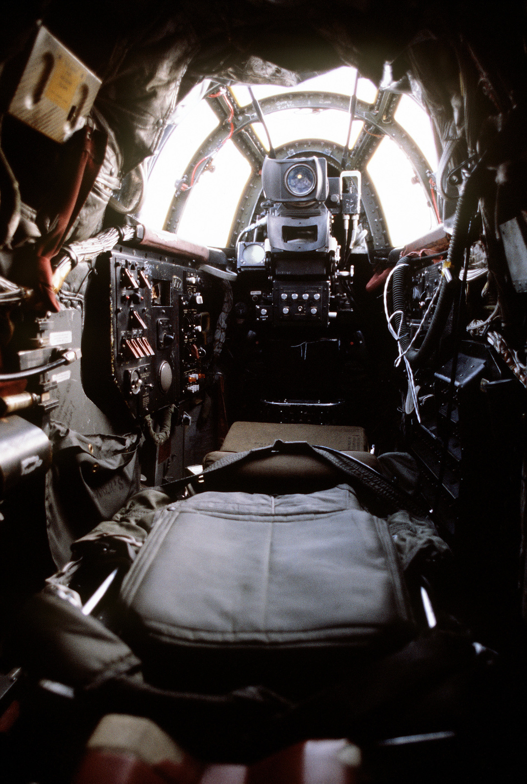 A view of the reclined seat that enables the crewman to