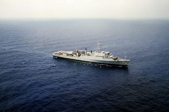 Aerial starboard bow view of the dock landing ship USS HERMITAGE (LSD-34) off the coast of Lebanon, during a multinational peacekeeping operation. The ship was deployed here after a confrontation took place between Israeli forces and the Palestine Liberation Organization