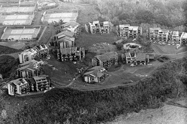 Aerial view of devastation left behind by hurricane Iwa