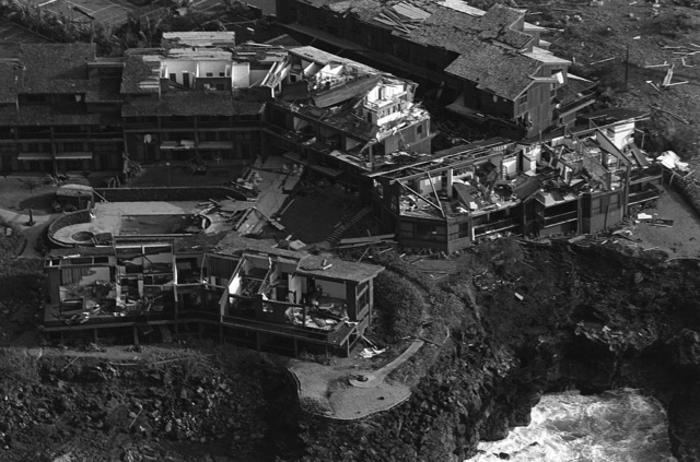 Aerial view of devastation wreaked to a housing development by Hurricane Iwa