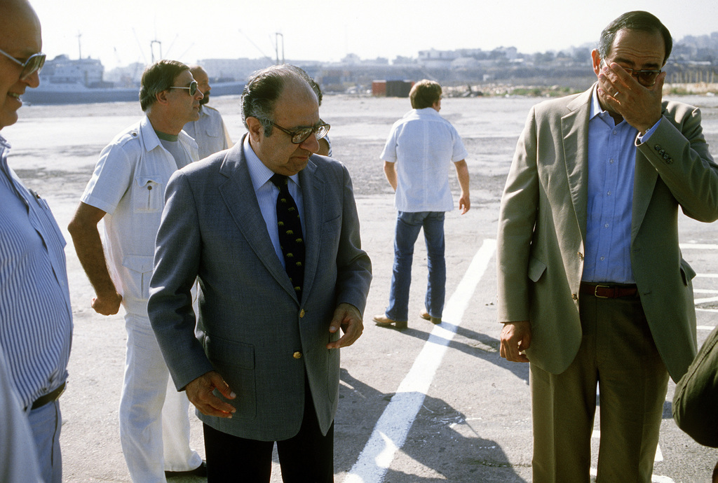 U.S. Special Envoy Philip C. Habib meets with French, Italian and U.S. ambassadors to greet the first Marines to land as part of a multinational peacekeeping force. The force was sent here after a confrontation took place between Israeli forces and the Palestine Liberation Organization