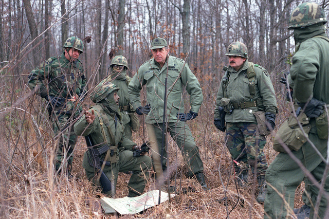 General E. C. Meyer, Army Cheif of STAFF, visits troops of the 101st Airborne Division during field training Exercise EAGLE STRIKE III