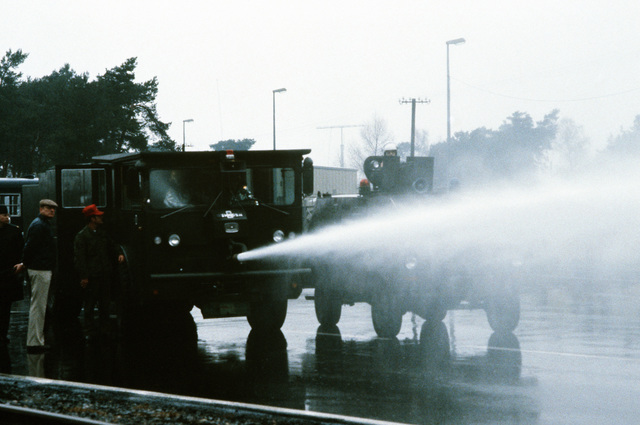 A water cannon is tested prior to an expected demonstration against NATO's decision on Dec. 12, 1979, to deploy Pershing II and cruise missiles in Germany unless the Soviet's agree to scrap their nuclear weapons aimed at Western Europe