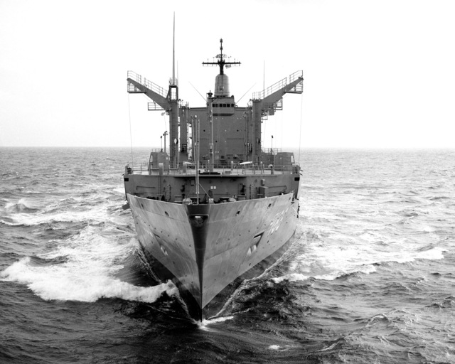 An aerial bow view of the Cimarron class oiler PLATTE (AO-186) underway during sea trials