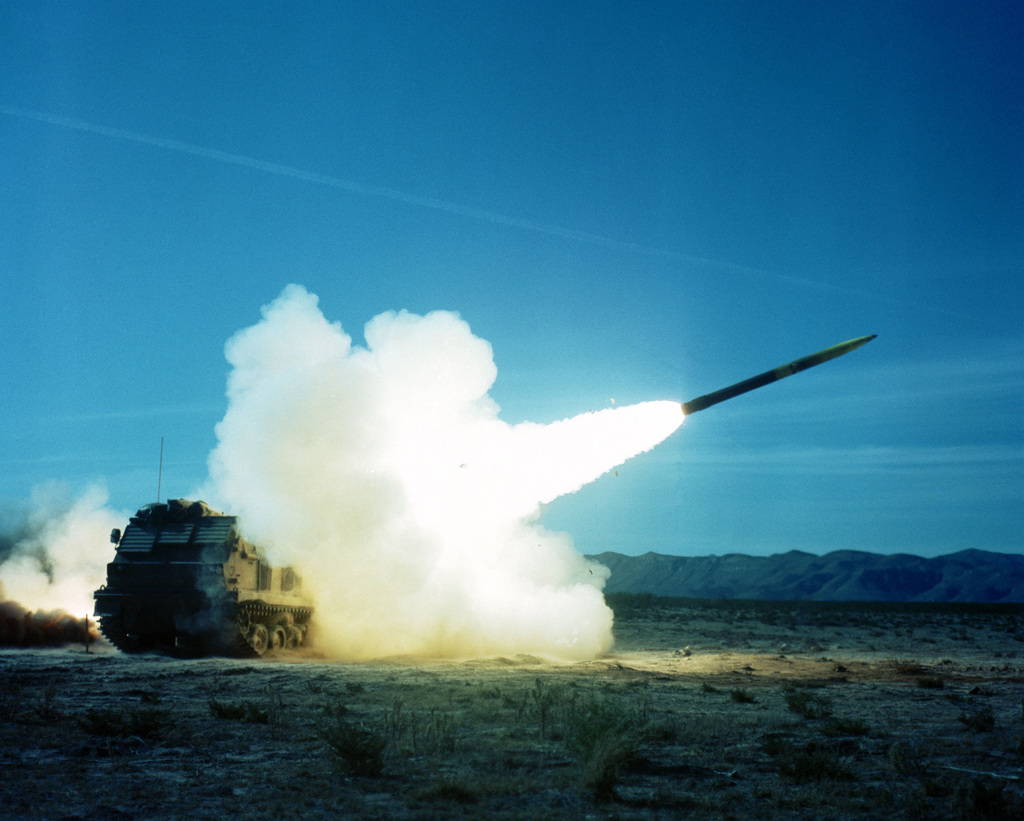 A multiple launch rocket system (MLRS) being fired by Operational Test and Evaluation Agency personnel from Fort Bliss, Texas