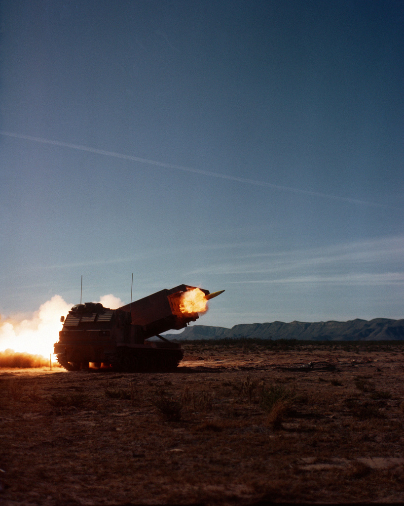 A view of a Multiple Launch Rocket System (MLRS) firing a round of ammunition