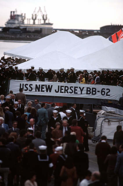 A view of the crowd waiting to see the battleship USS NEW JERSEY (BB-62) recommissioned