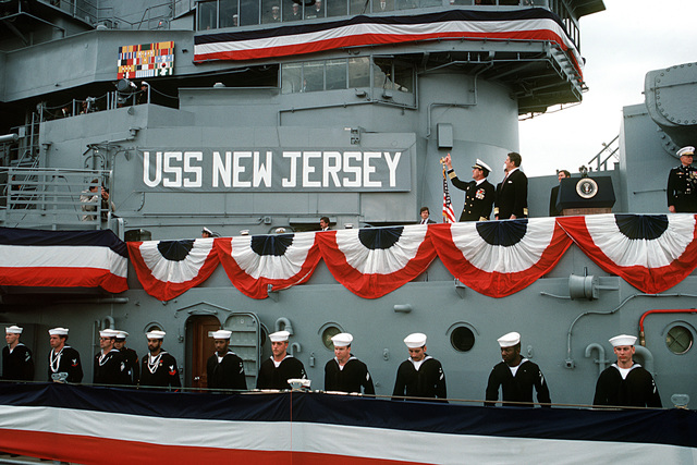 Crew members man the starboard rail aboard the battleship USS NEW JERSEY (BB-62) during its recommissioning ceremony