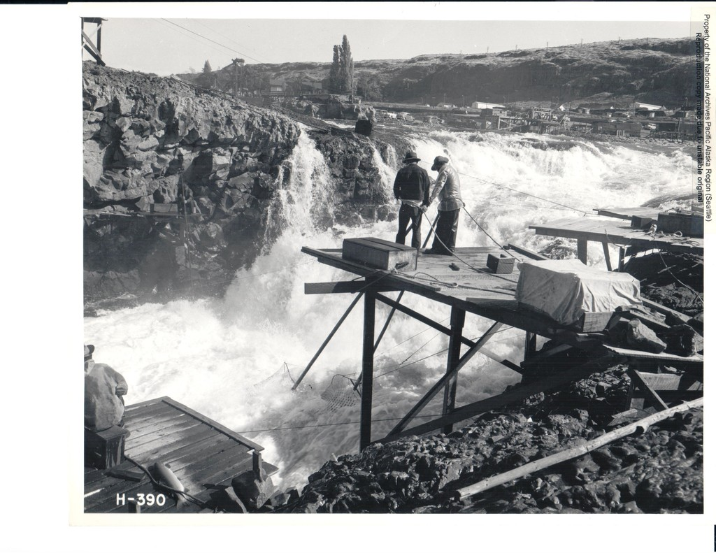 Fisherman at Celilo Falls on the Columbia River, Oregon