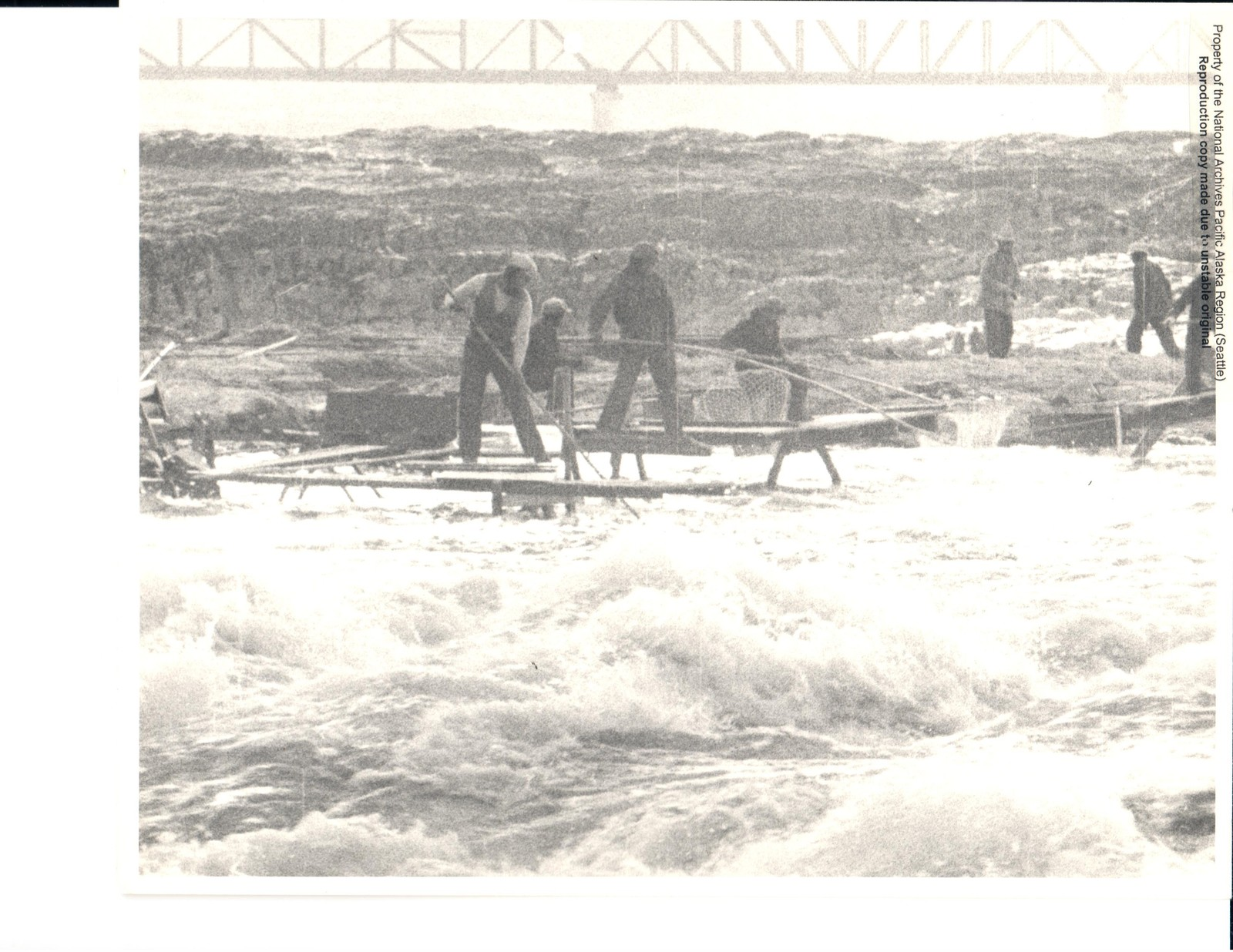 Wide-View of Fishermen at Celilo Falls and the Celilo Bridge