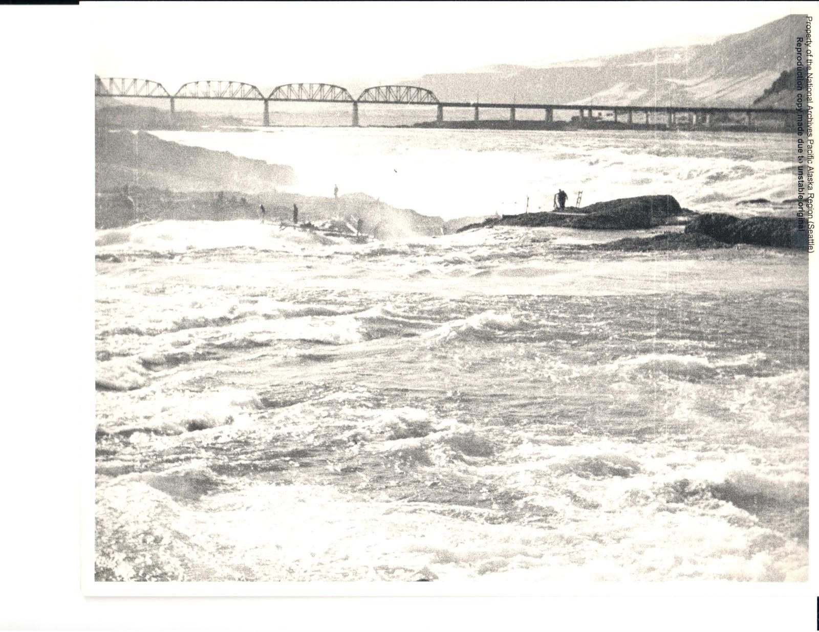 Wide-View of Fishermen at Celilo Falls and the Celilo Bridge