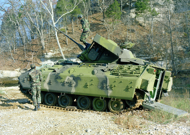 A left side view of an M-3 Bradley Cavalry Fighting Vehicle operated by members of the 3rd Plt., E Trp., 2nd Bn., 6th Cav., participating in maneuvers at the U.S. Army Armor Center