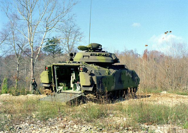 A rear view of an M-3 Bradley Cavalry Fighting Vehicle operated by members of the 3rd Plt., E Trp., 2nd Bn., 6th Cav., participating in maneuvers at the U.S. Army Armor Center