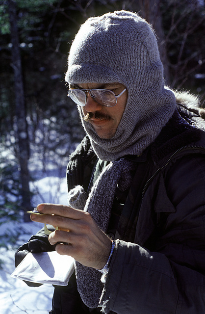 A student of the Navy's Cold Weather Environmental Survival is taught survival techniques by instructors from the Fleet Aviation Specialized Operational Training Group Atlantic (FASO)