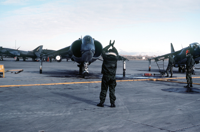 A view of an AV-8B Harrier aircraft with a camouflage paint scheme, as it is marshaled onto the runway apron by a ground crew member. The Harrier is from Marine Light Attack Squadron 231 (VMA-231)