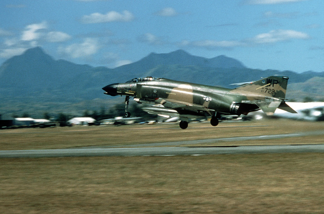 A view of an F-4D Phantom II aircraft from the Eighth Tactical Fighter Wing, Kunsan Air Base, Korea, as it takes off