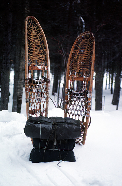 A view of snow shoes and a knap-sack, two of the tools used by students of the Navy's Cold Weather Environmental Survival Training being taught survival techniques by instructors from the Fleet Aviation Specialized Operational Training Group Atlantic (FASO)